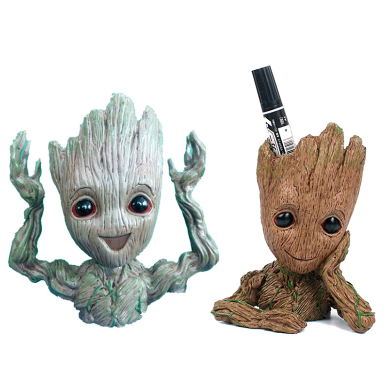 Baby Groot Guardians of The Galaxy Flowerpot Action Figures Cute Model Toy Pen Pot Best Christmas Gifts Kids Hobbies