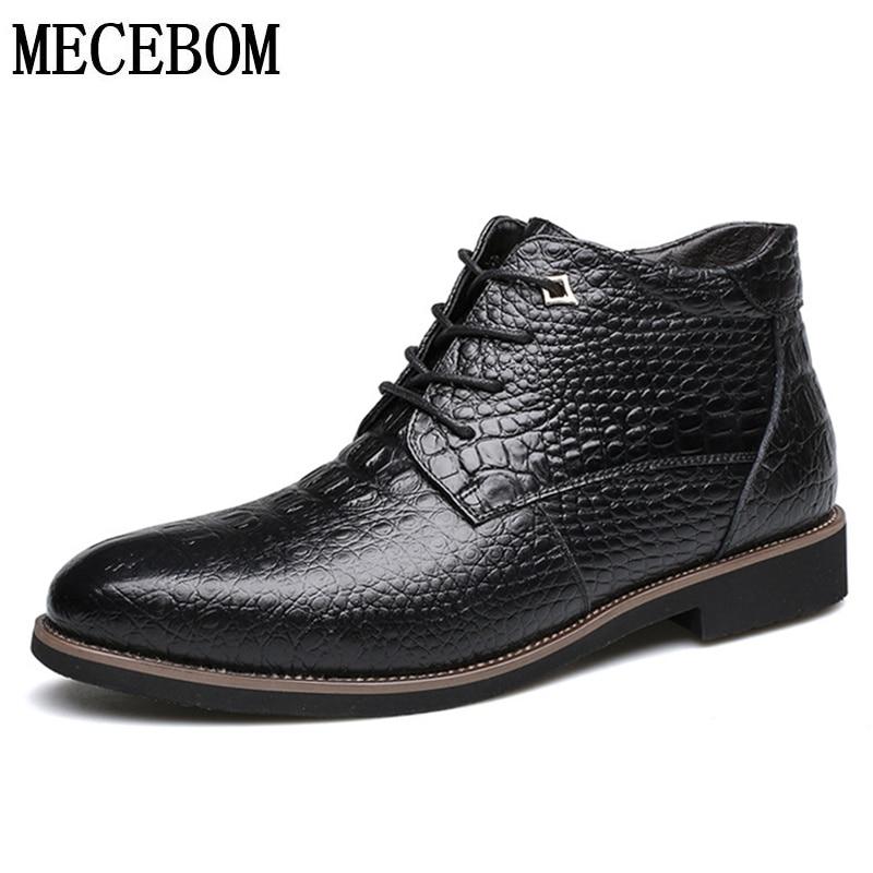 De 6098 Taille En Mode 38 M Black Grande Chaud Fur Chaussures Pour Brown Mâle 6098m Cuir 46 Bottes Brun D'hiver Cheville 6098m Hommes Fourrure Fur Noir D'affaires sQrthd