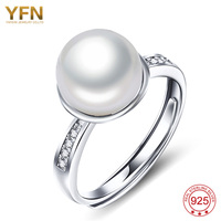 YAFEINI 925 Sterling Silver Jewelry Freshwater Pearls Top Silver Ring Mother Girls Pearl Ring GNJ0647 B