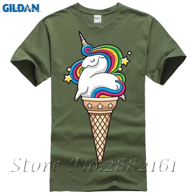 Rainbow Unicorn Icecream T-shirt Mens Designed Custom Short Sleeve Valentines Plus Size Team T Shirts
