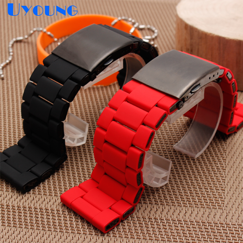 Image 3 - silicone rubber watch band mens waterproof for diesel watch strap bracelet band 28mm DZ7370 DZ7396 DZ428 stainless steel b-in Watchbands from Watches