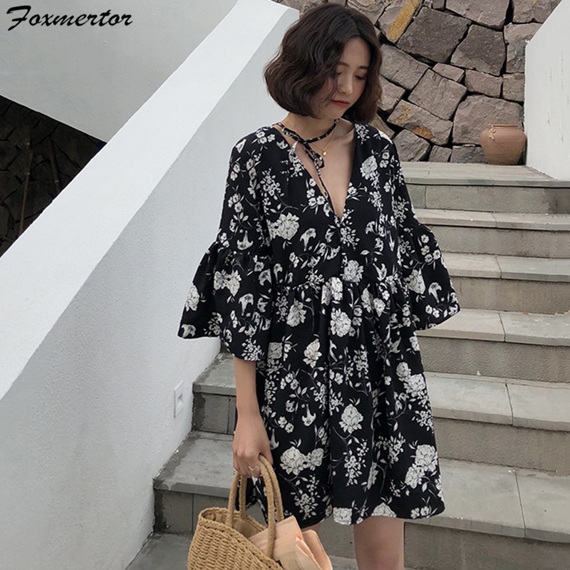 US $13.41 39% OFF|Foxmertor Summer Black Vintage Floral Chiffon Midi Dress  Plus Size Boho Dresses Elegant Women Party Long Sleeve Dress Vestidos-in ...