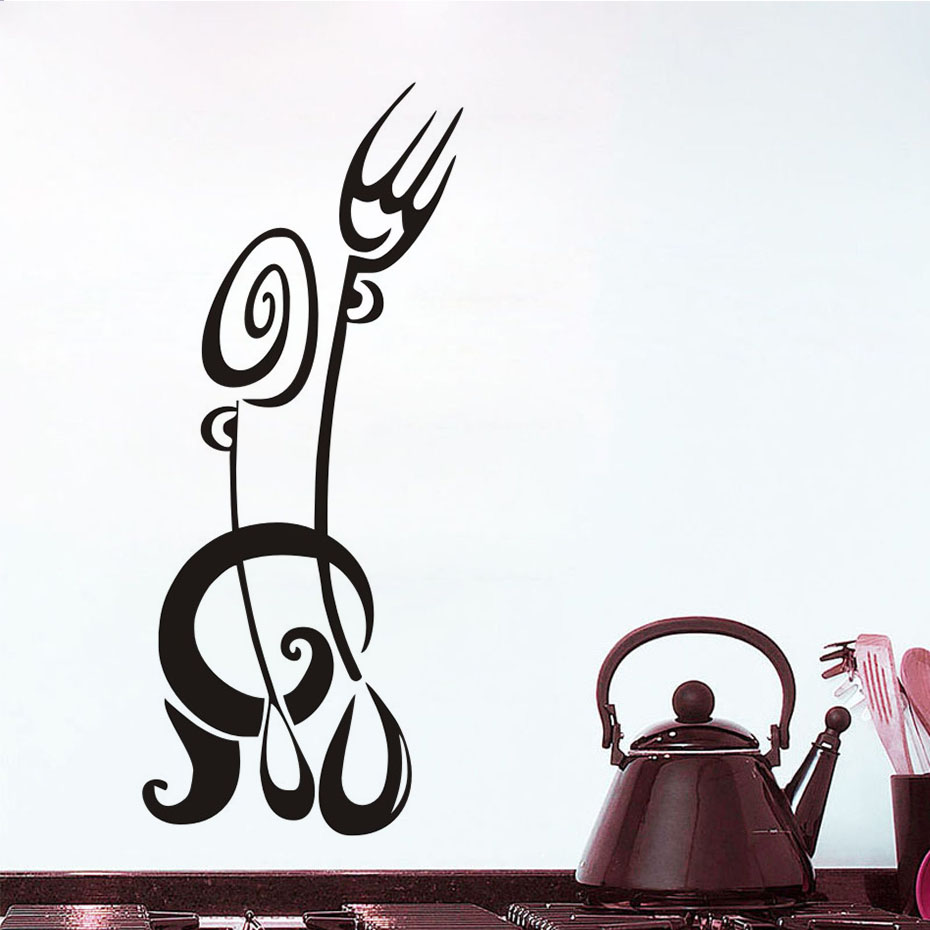 Cartoon Kitchen Dining Room Door Stickers Decorative Stickers Fork Spoon Removable Vinyl Wall Sticker On The Wall,JD3317A1