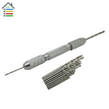 Double Head Chuck Pin Vice Handle Mini Hand Drill Walnut Perforated Paper Model Hobyy Tools With 10pcs Micro Drill for PCB Wood