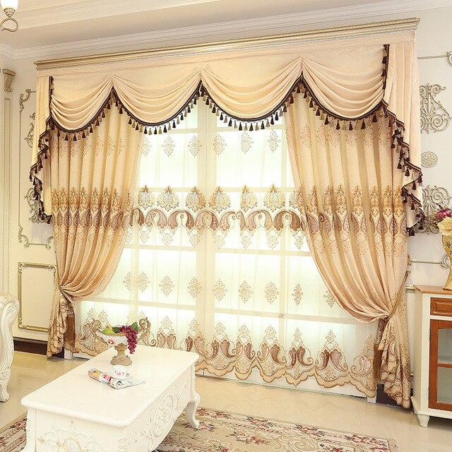 Europaischen Stil Chenille Gestickte Blumen Creme Farbe Fenster