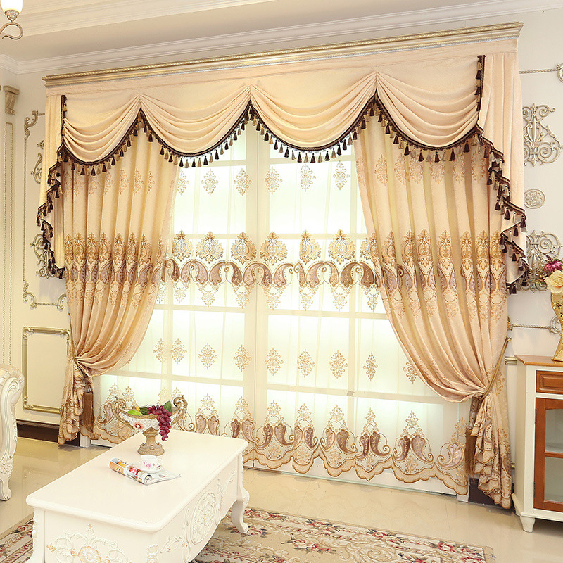 European style chenille embroidered floral cream color - European style curtains for living room ...