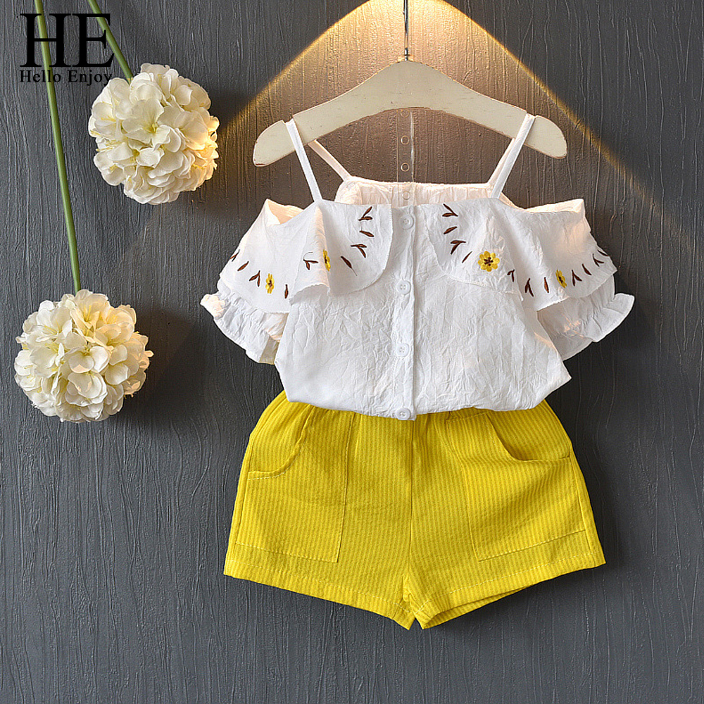 HE Hello Enjoy Baby Girls Clothes Summer Children Clothing 2018 Condole belt Off Shoulder Embroidery Top+Shorts Sets Outfits