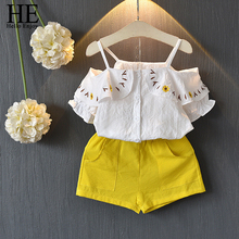 HE Hello Enjoy Baby Girls Clothes Summer Children Clothing 2019 Condole belt Off Shoulder Embroidery Top+Shorts Sets Outfits