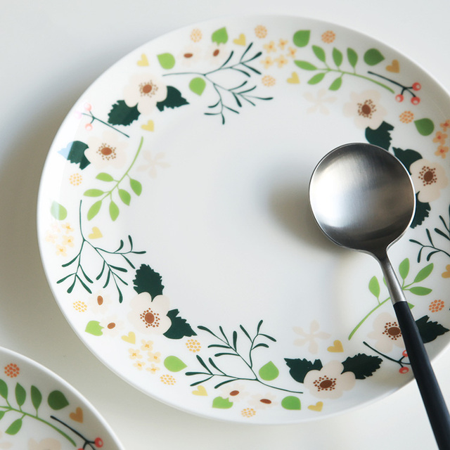 8inch Past Home Flowers Bone China Dishes Plates Decorative Fruit Steak Pasta Dinner Kitchen