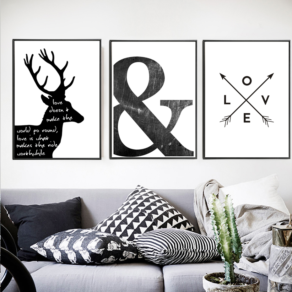 Buy Abstract Minimalist Symbol Canvas Painting Black White Nordic Scandinavian Wall Art Picture