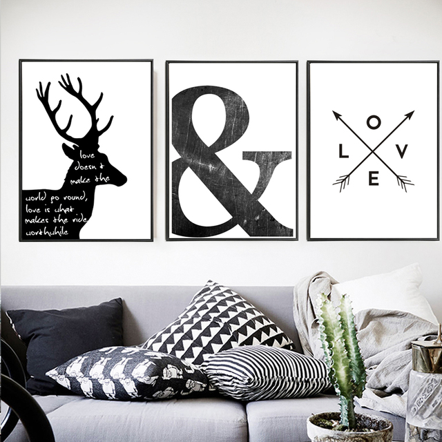 Abstract Minimalist Symbol Canvas Painting Black White Nordic