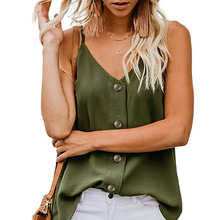 Fashion Summer Womens V-neck Vest Sleeveless Button Shirt Blouse Casual Solid Ladies Thin Tank Tops plus size women shirt