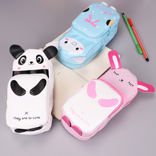 1PC Cartoon Animal School Pencil Case Cute PU Pen Bag Storage Pouch Korea Stationery Material Office Supplies Escolar