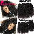 Cabelos cacheados Com Fechamento Mongolian Kinky Curly Virgem Cabelo Com Fechamento 4 Bundles Com Fecho da Extensão Do cabelo humano com fecho