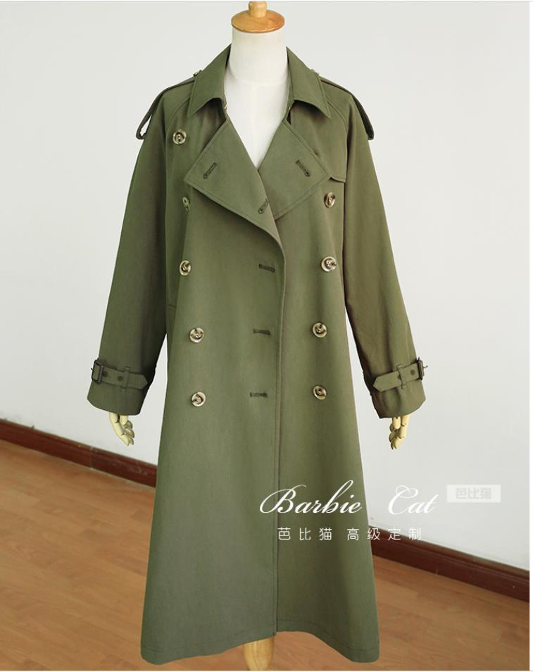 Automne Pour Double Mode Vêtements Turn Col Lâche Coupe Down Breasted Army Green Femmes coat 2019 vent Trench Printemps SMVpqUz