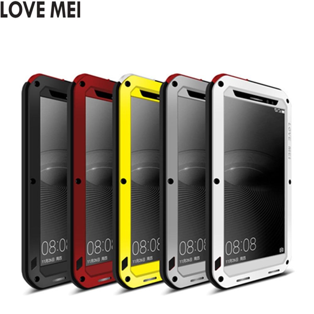 imágenes para Amor de la Original Mei Potente Caso Para Huawei Mate 8 prueba de Choques Impermeable De Aluminio Vidrio Templado Cubierta de la Caja con el regalo libre