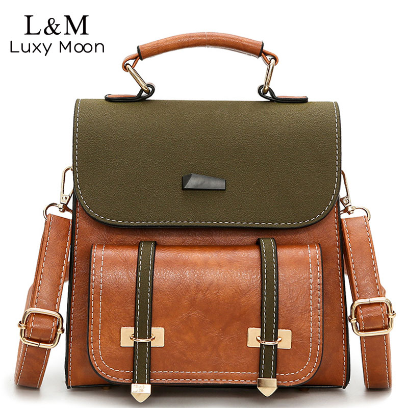 Luxy moon Women Bag Retro Brown Backpack PU Leather Shoulder Bag Female For Teenage Girls School Bags Fashion Backpacks XA1014H women backpack large school bags for teenage girls shoulder bag vintage pu leather backpacks black casual solid rucksack xa83h
