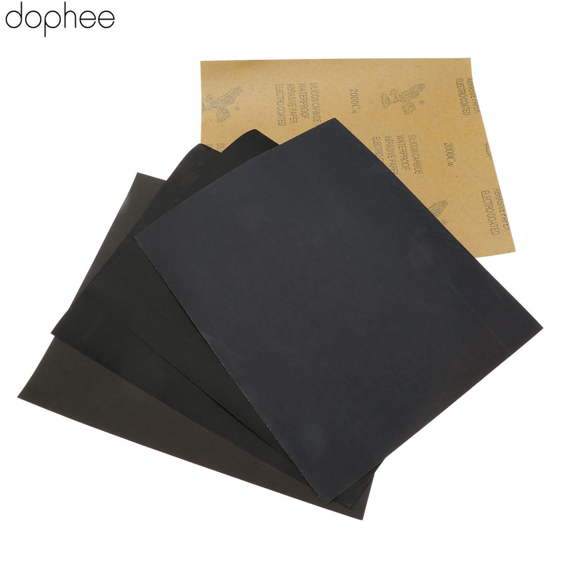 Dophee Sheets Sandpaper Waterproof Abrasive Paper Sand Paper Grit(600+2x1000+1500 +2000) Silicone Carbide Grinding Polish Tool