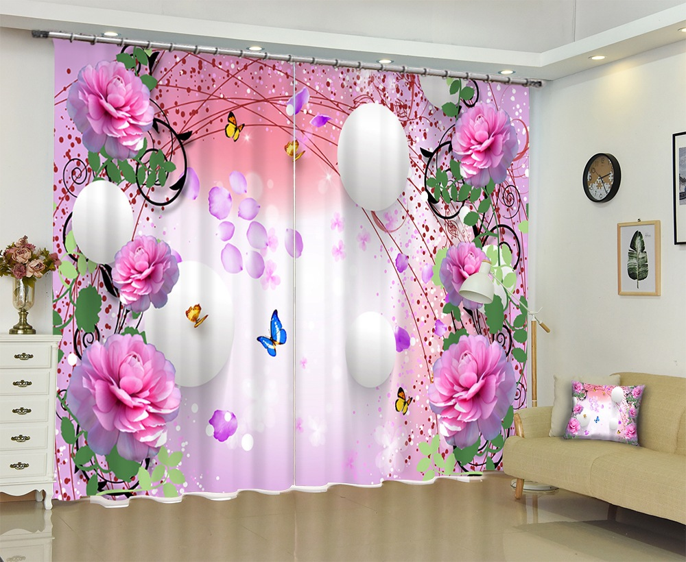 Pink Curtains Luxury Blackout 3D Window Curtains For