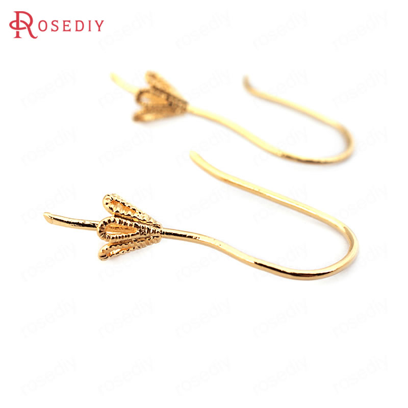 (33765)12PCS 20MM Cap Inside 4MM 24K Gold Color Brass Half Pins Earrings Hooks High Quality Diy Jewelry Findings Accessories