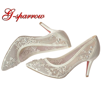 Beautiful High Heel Wedding Shoes Lace Rhinestone Spring Bridal Shoes Sexy Hollow Transparent Pointed Toe Prom Formal Dress Pump