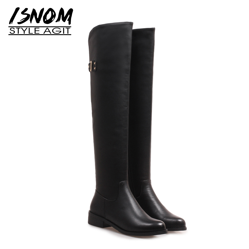 ISNOM Over The Knee Riding Women Boots Zip Round Toe Low Heels Footwear Leather Female Boots Motorcycle Shoes Woman 2018 WinterISNOM Over The Knee Riding Women Boots Zip Round Toe Low Heels Footwear Leather Female Boots Motorcycle Shoes Woman 2018 Winter