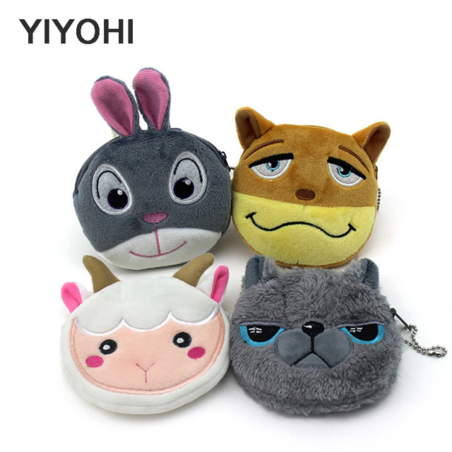 11cm*10cm Cute Style Cartoon Crazy Animals Zipper Plush Coin Purse Kawaii Children Coin Purse Women Wallets Mini Handbag