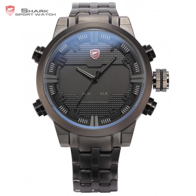 Sawback ángel shark reloj deportivo de lujo led auto fecha día alarma relogio negro analógico de cuarzo militar de los hombres relojes digitales/sh199