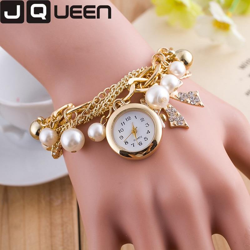 2016 Fashion Women Dress Watch Pearl Crystal Ston Ladies Bracelet Watch Multilayer Luxury Quartz Wristwatch