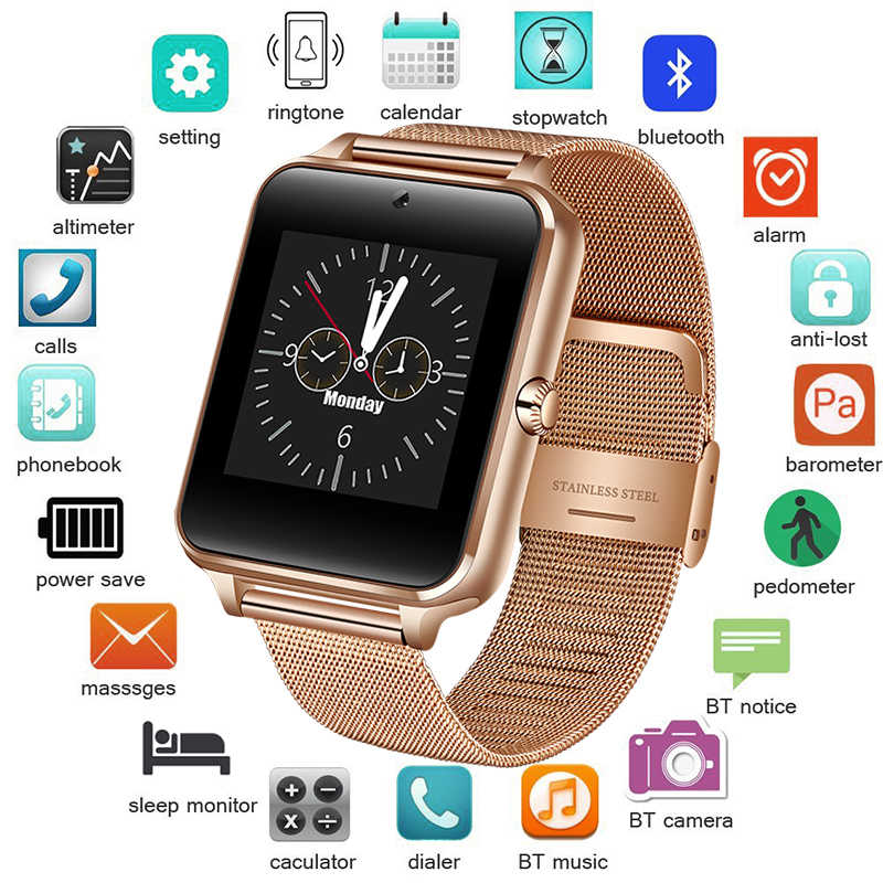 2019 Baru Stainless Steel Bluetooth Smart Watch Olahraga Pria Wanita Tahan Air Warna LED Touch Screen Watch Mendukung SIM TF Card