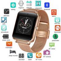 2018 New Stainless Steel Bluetooth Smart Watch Women Men Sport Waterproof SmartWatch LED Color Touch Screen Watch Support SIM TF