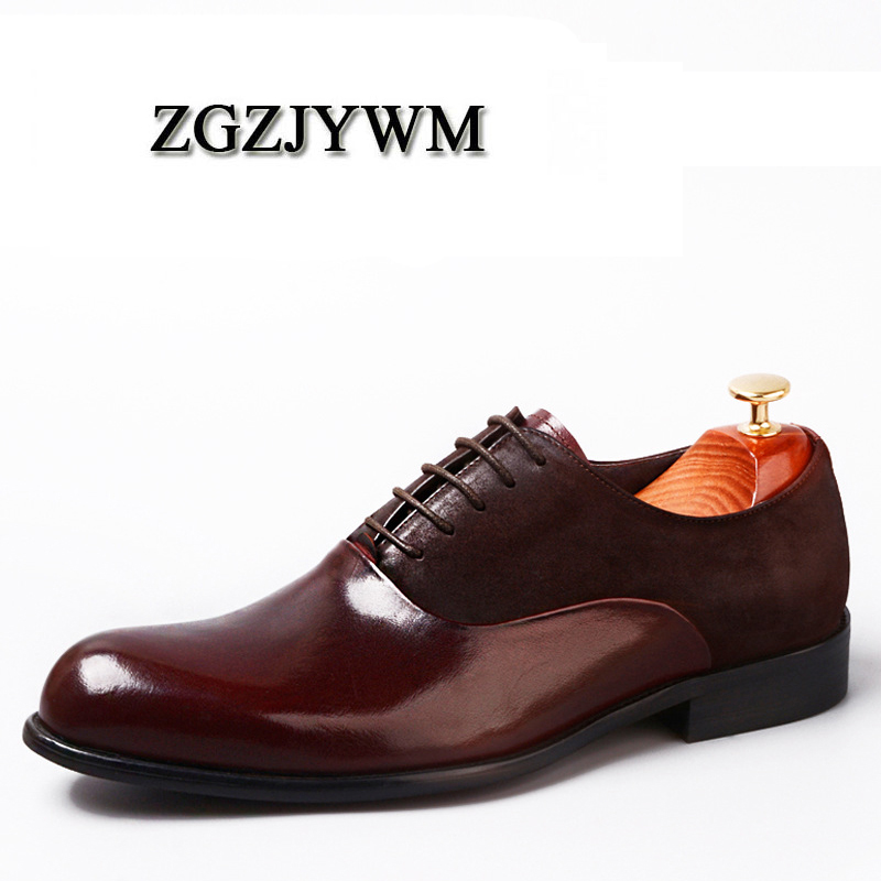 ZGZJYWM New Fashion Handmade Black/Red Genuine Leather Lace-Up Pointed Toe Business Dress Men Oxford Party Wedding ShoesZGZJYWM New Fashion Handmade Black/Red Genuine Leather Lace-Up Pointed Toe Business Dress Men Oxford Party Wedding Shoes