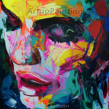 Palette knife painting portrait Palette knife Face Oil painting Impasto figure on canvas Hand painted Francoise Nielly 16-34