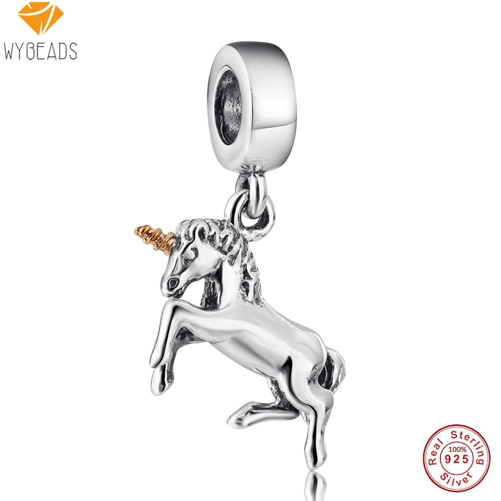 WYBEADS 925 Sterling Silver Charms Unicorn Pendant European Bead For Snake Chain Bracelet Bangle Original Jewelry Making
