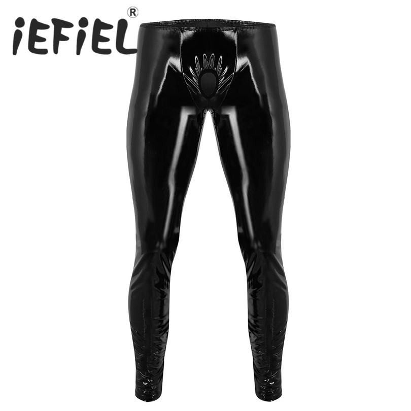 iEFiEL Fashion Sexy Mens Lingerie Shiny Patent Leather Tight Pants Leggings Trousers with Open Penis Hole for Clubwear Clothes