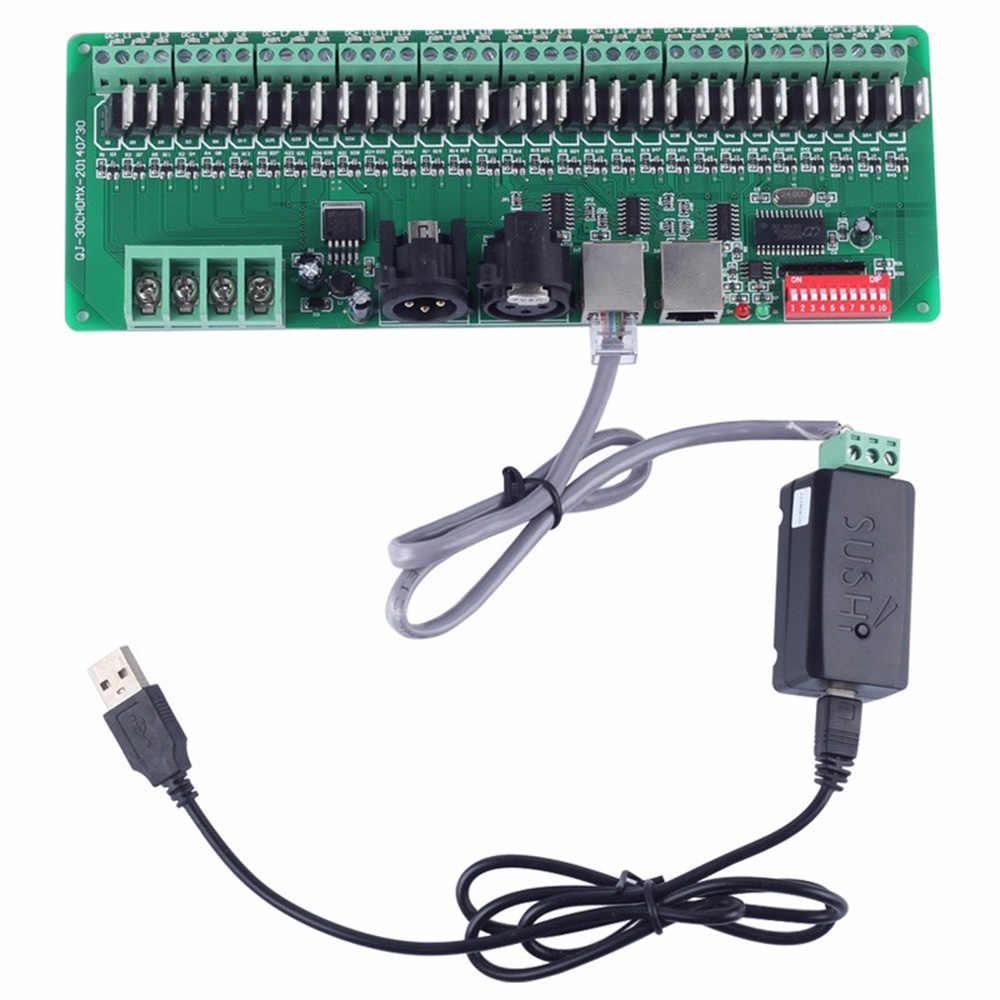 USB главный контроллер DMX + 30 канала DMX декодер для программного обеспечения редакторы для RGB Светодиодный Фонари входного DC9-24V