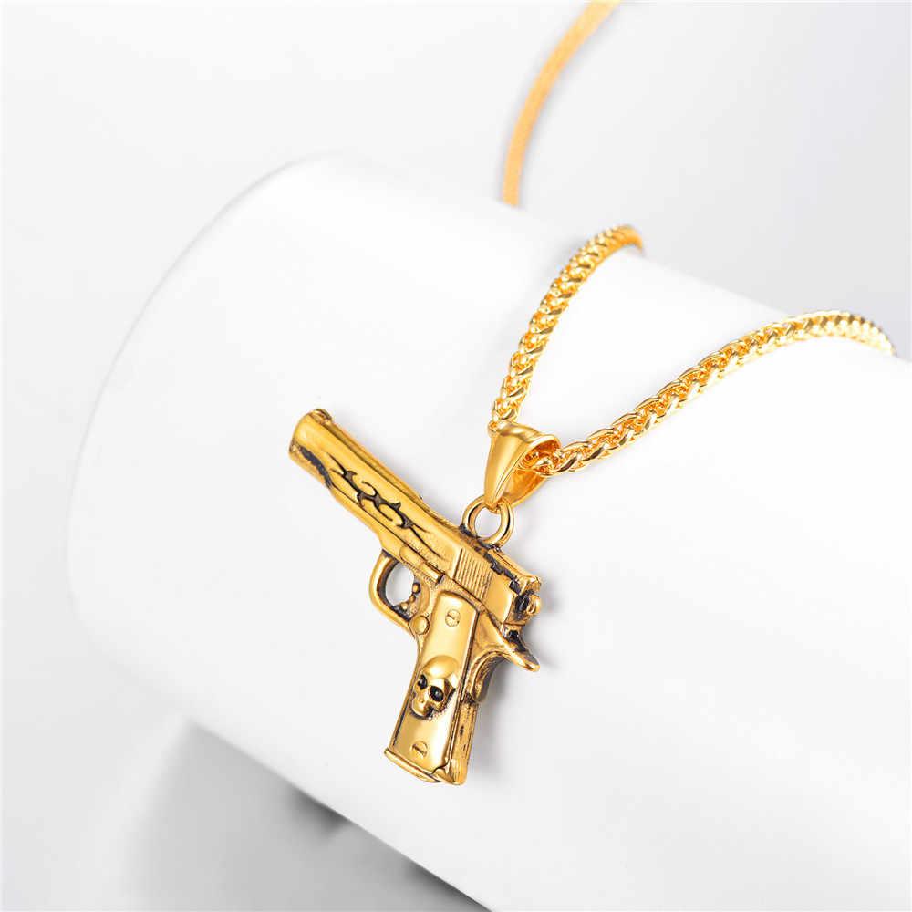 M9 pistolet wisiorek naszyjnik ze stali nierdzewnej/złoty/czarny Hip Hop broń biżuteria pistolet czaszki biżuteria prezent dla mężczyzn GP3248