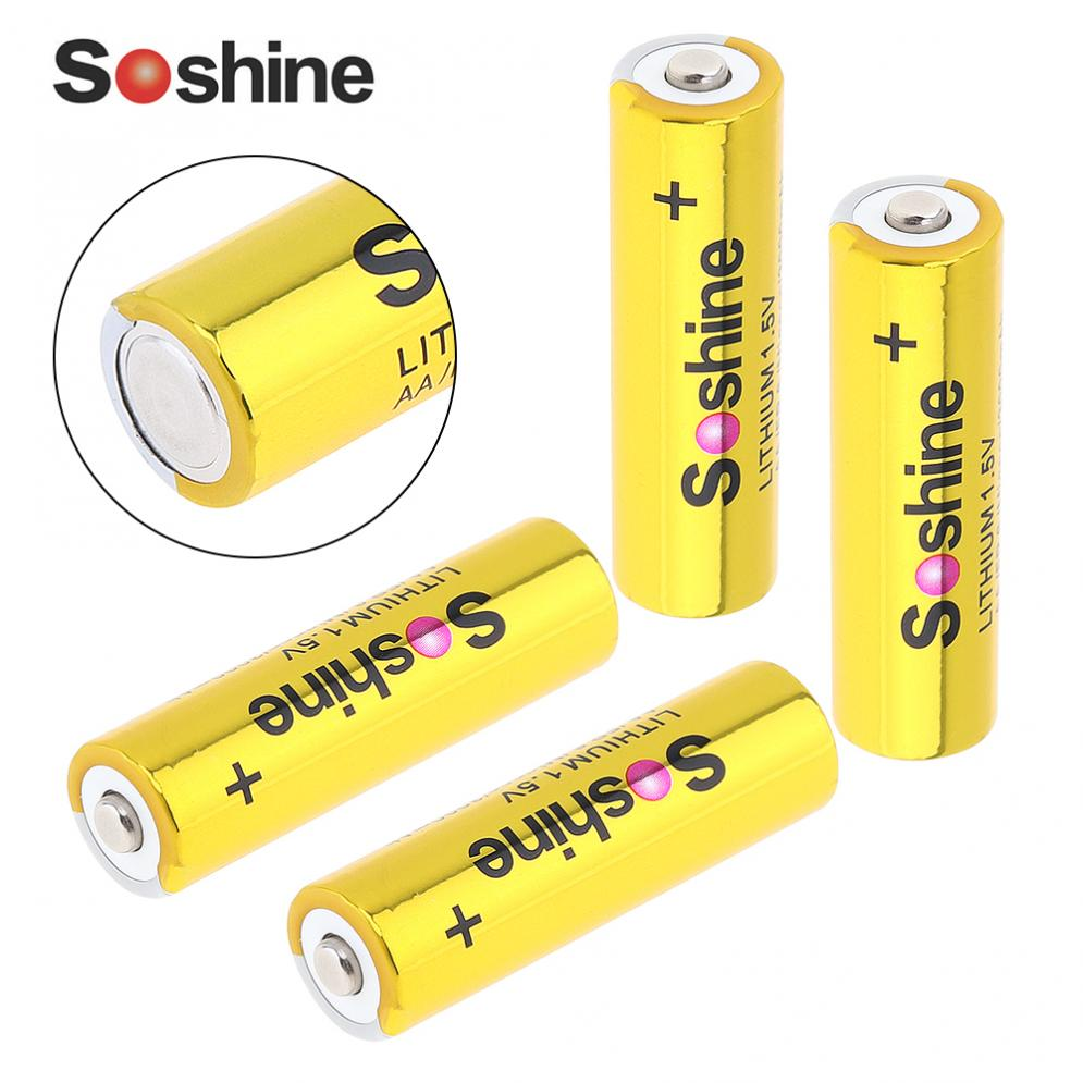 Soshine 4pcs Super <font><b>1.5V</b></font> 3000mAh <font><b>AA</b></font> FR 6 Mignon LITHIUM <font><b>Batteries</b></font> with Super Continuous Discharge for Camera Flashlight Headlamp image