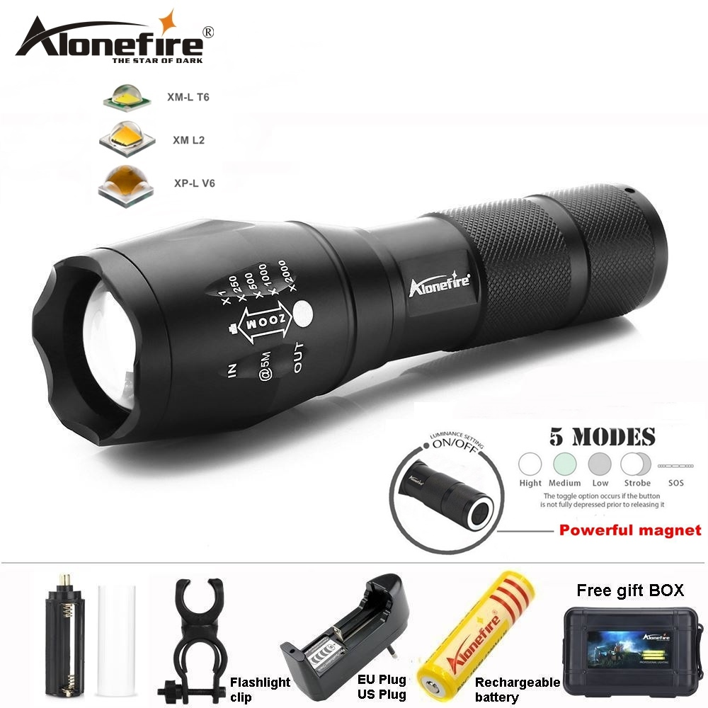 0a53402caf9 AloneFire T6 XML L2 lanterna tática G700N V6 holofote levou Ímã camping da  bicicleta da bicicleta lanterna Zoom tocha AAA 18650 bateria