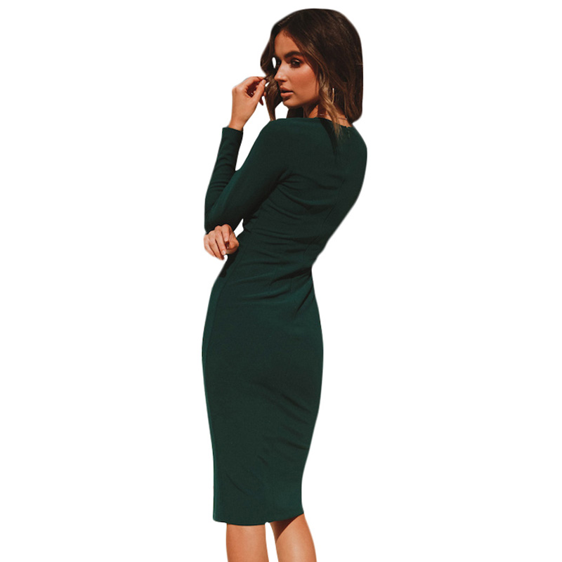 4e0b050a66 Detail Feedback Questions about Women Ruched Front Autumn Dress Pure ...