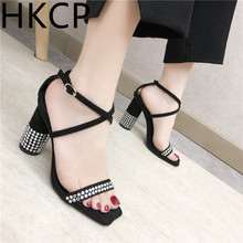 HKCP Fashion Thick with a buckle sandals female 2019 summer new rhinestone high heel open toe casual shoes C339
