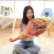 TOYZHIJIA Funny Gift 50cm Creative drumstick plush Toys Novelty Stuffed Food Toys 3D Printing ham Pillow Soft Cushion cloth doll(China)
