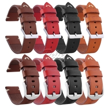 Pelle 20mm 22mm 24mm Breathable Vegetable tanned leather strap Quick Release Silver Buckle