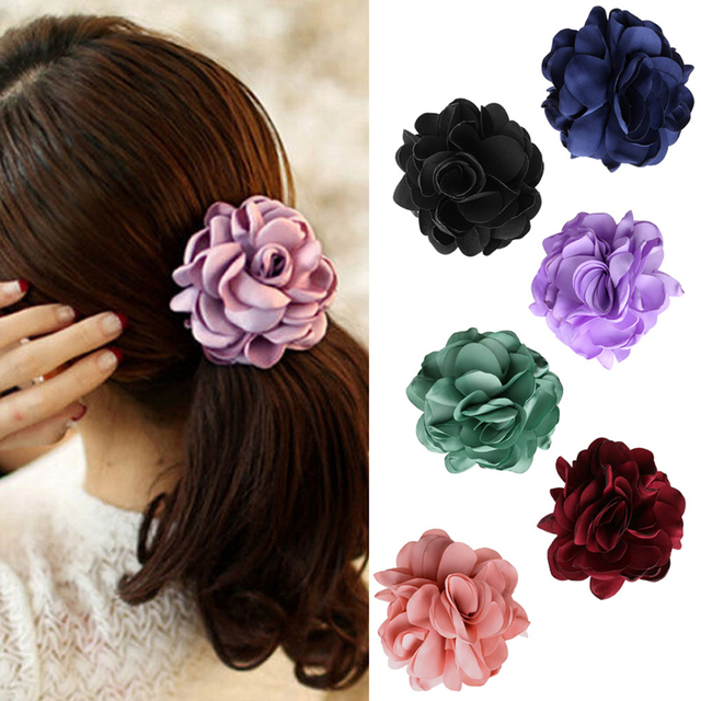 Women Elastic Rope Hair Band Green Rose Flower Ponytail Holder Scrunchie  Accessories 655839a4621