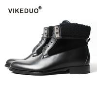 Vikeduo/2019; черные классические мужские ботинки ручной работы; модные повседневные Роскошные туфли из натуральной кожи на каблуке; зимние мужс
