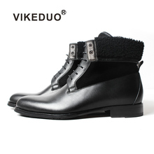 Vikeduo 2019 Handmade Black Classic Male Boot Fashion Casual Luxury Heel Genuine Leather Shoes Ankle Snow Winter Fur Men Boots