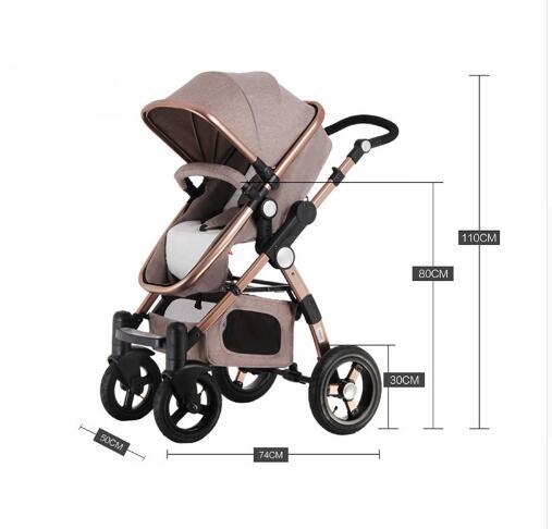 Baby Stroller Higher Land-scape Golden Baby 3 in 1 Portable Folding