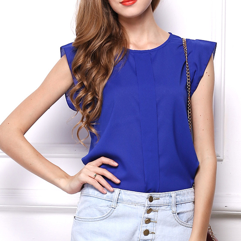 Elegant Royal Blue Chiffon T Shirt Women Summer Tops Crops Ladies ...