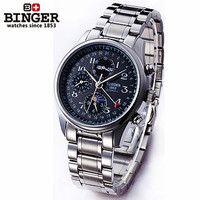 Tourbillon Black Dial Moon Phase Watches Automatic Mechanical Genuine Steel Case Dress Men Multifunction Military Binger Watch
