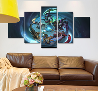 New 5 Panel Modular Heroes Of The Storm Wow Game Poster HD Print On Canvas Modern